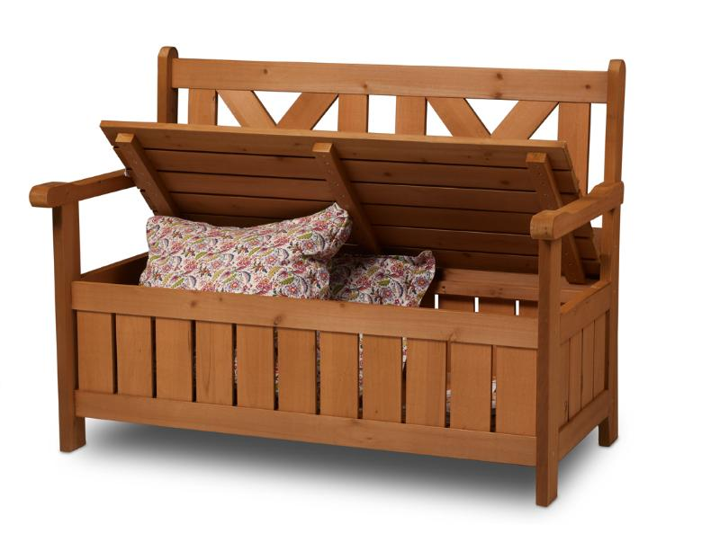 banc de jardin bois avec coffre de rangement int gr. Black Bedroom Furniture Sets. Home Design Ideas