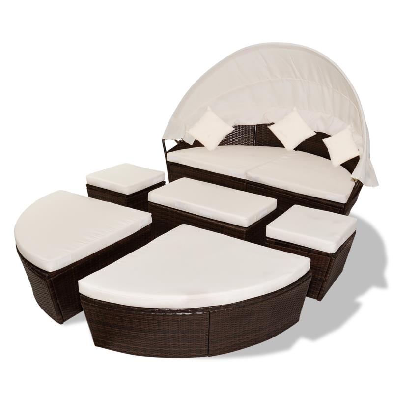 canape de jardin 230 cm diam tre modulable marron. Black Bedroom Furniture Sets. Home Design Ideas