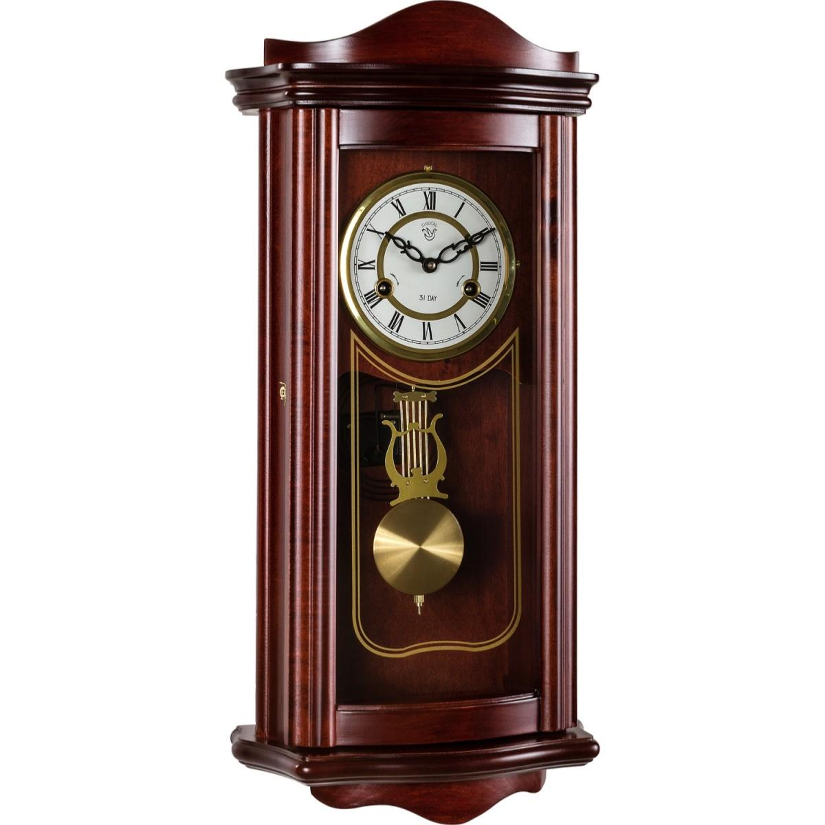 horloge pendule murale 63 cm style ancien acajou. Black Bedroom Furniture Sets. Home Design Ideas
