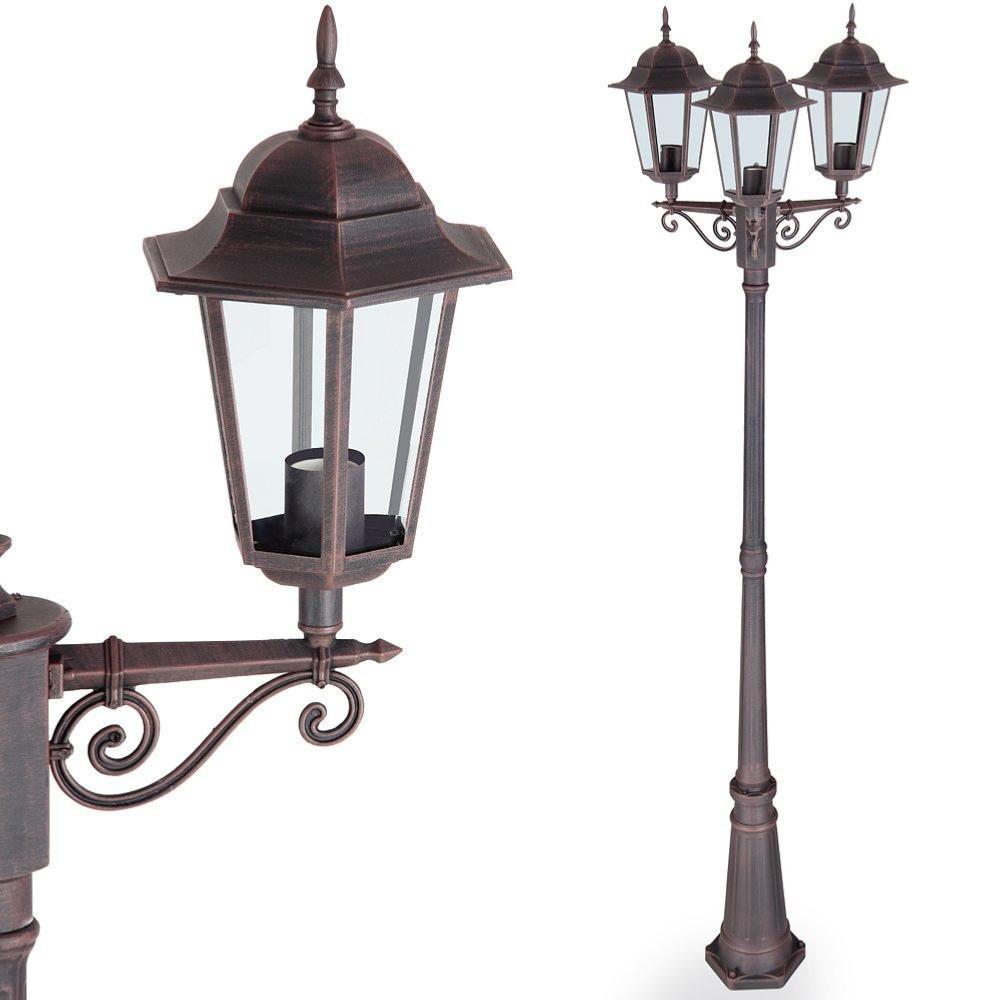 Lampadaire couleur rouille en aluminium ext rieur 3 t tes for Lampadaire exterieur 3 tetes