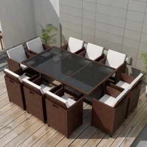 Salon jardin résine tressée 3 coloris,10 fauteuils, LUXE