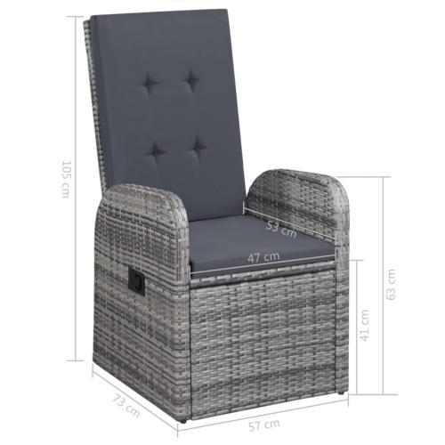 SALON DE JARDIN, grand luxe, 8 places, résine tressée, gris
