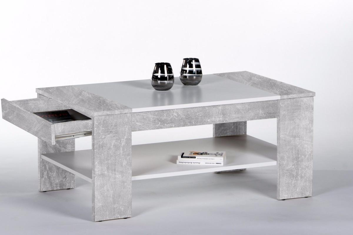 table basse en bois gris 100cm avec tiroir mod le berlin. Black Bedroom Furniture Sets. Home Design Ideas