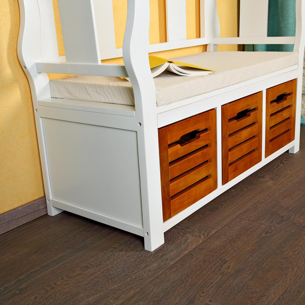banc en bois avec 3 tiroirs de rangement int gr s. Black Bedroom Furniture Sets. Home Design Ideas