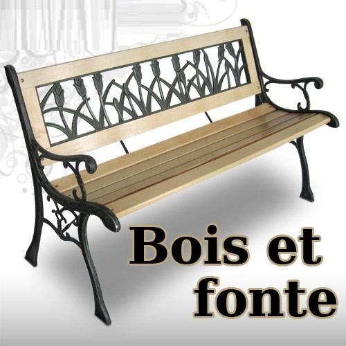 Emejing salon de jardin bois et fonte pictures awesome for Banc de jardin en fonte
