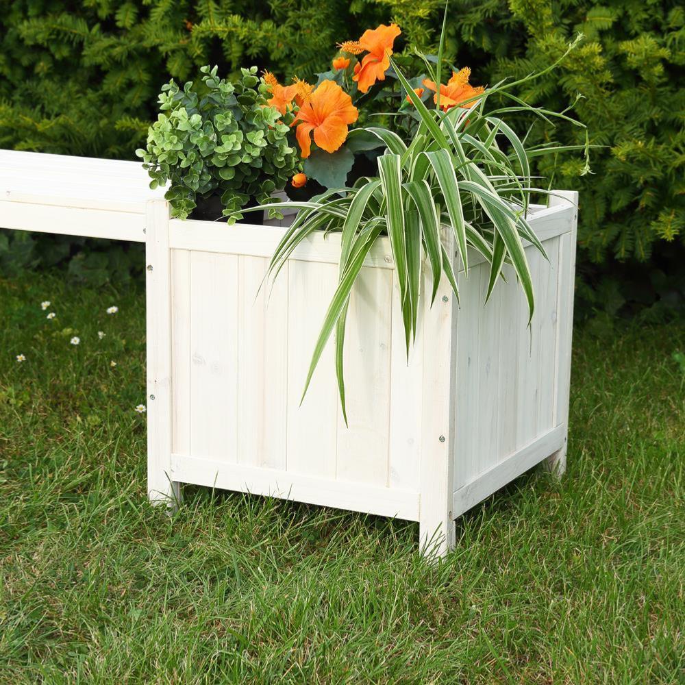 Banc de jardin avec bacs fleurs en bois massif blanc - Banc de jardin blanc ...