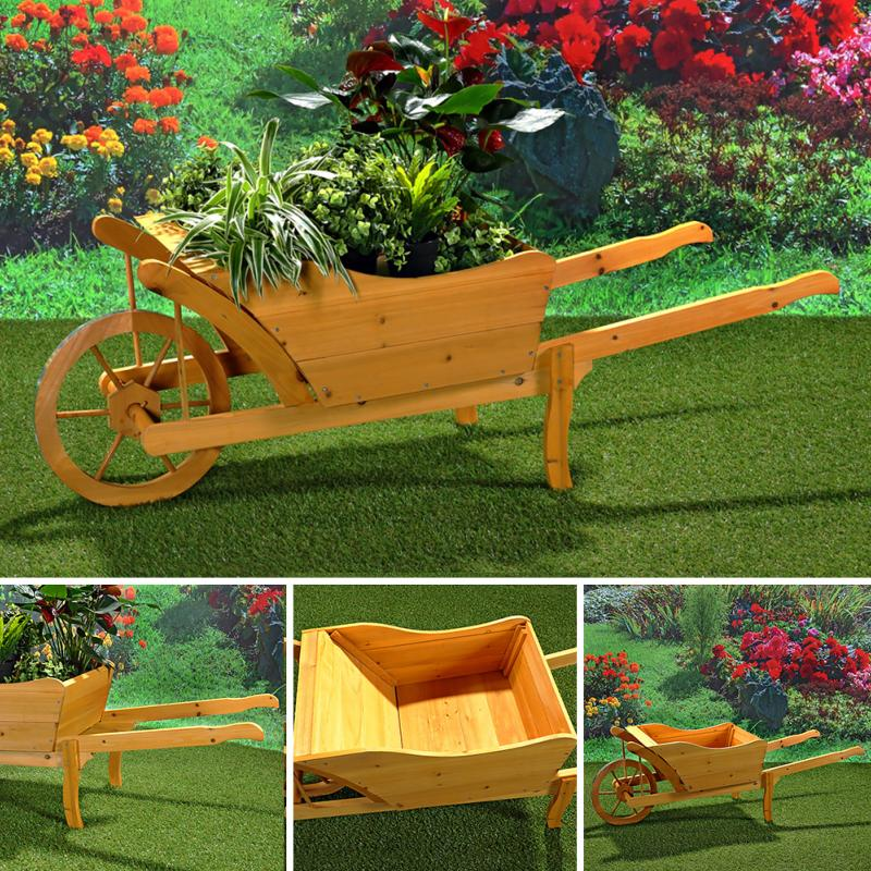 brouette d co en bois. Black Bedroom Furniture Sets. Home Design Ideas