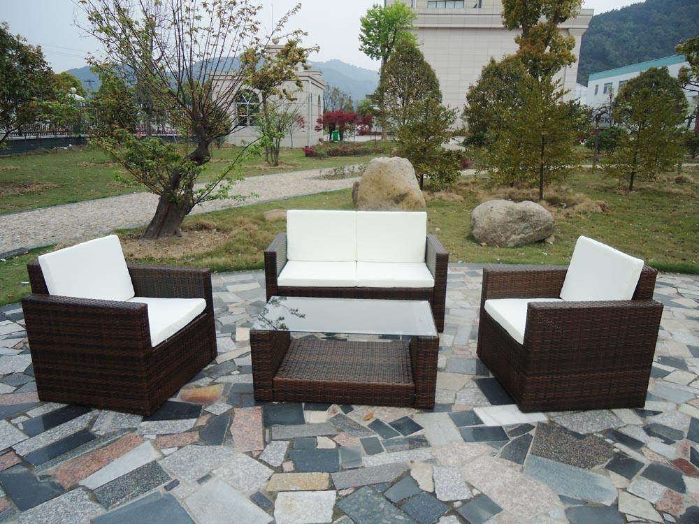Salon de jardin en r sine tress e aluminium 8 pcs marron - Salon de jardin tresse couleur chocolat ...