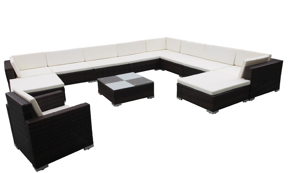 salon canap de jardin en r sine tress e aluminium 11 personnes. Black Bedroom Furniture Sets. Home Design Ideas