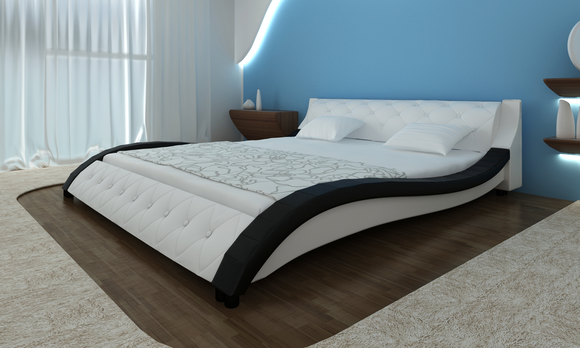 lit design en cuir 140 x 200 cm noir matelas. Black Bedroom Furniture Sets. Home Design Ideas