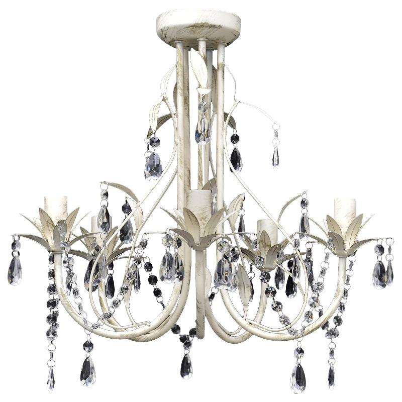 Lustre suspendu cristal design 5 branches blanc antique for Lustre suspendu design