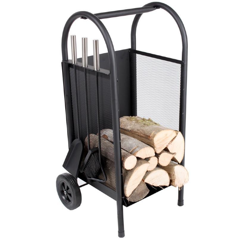 Chariot bois pour chemin e avec accessoires - Chariot pour bois de cheminee ...