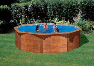 Piscine x m aspect bois for Piscine bois ronde