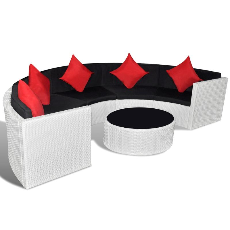 salon de jardin en r sine tress e demi cercle. Black Bedroom Furniture Sets. Home Design Ideas