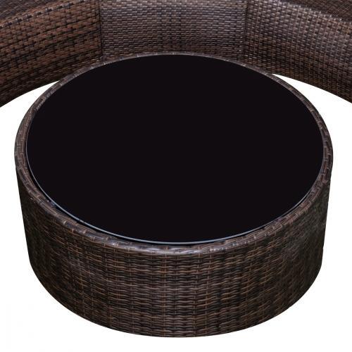 salon de jardin en r sine tress e demi cercle. Black Bedroom Furniture Sets. Home Design Ideas