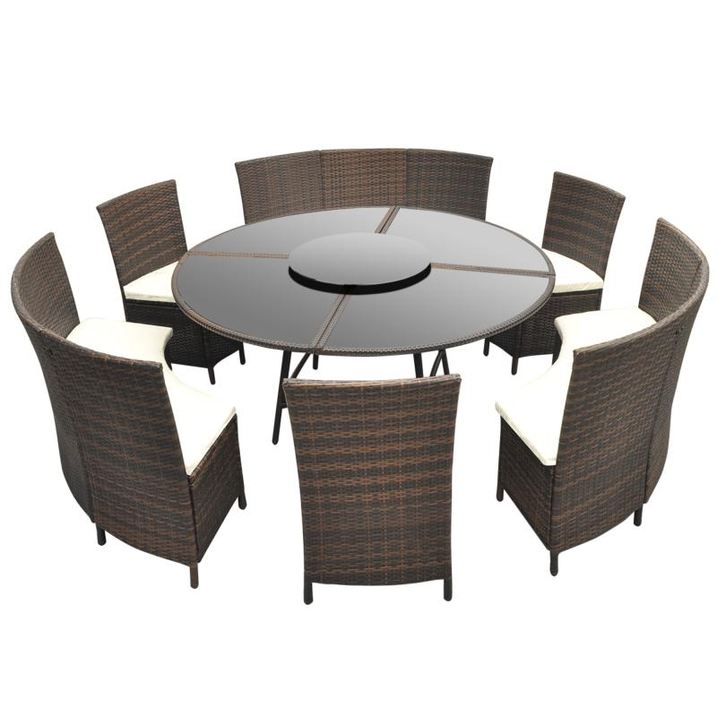 Salon de jardin circulaire 12 places r sine tress e - Salon de jardin table ronde ...