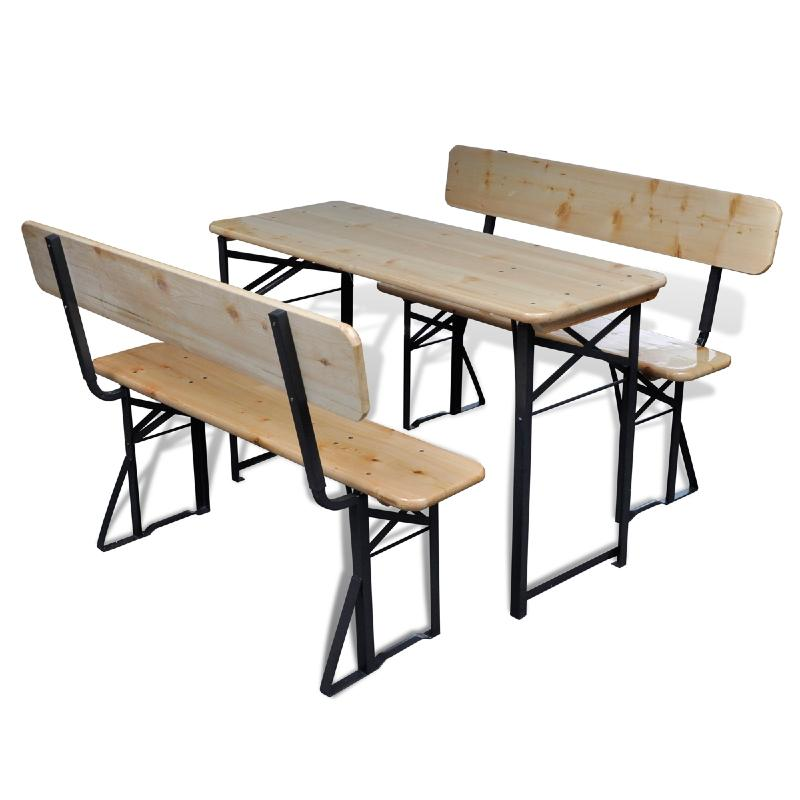 table de brasserie pliante bois avec 2 bancs. Black Bedroom Furniture Sets. Home Design Ideas
