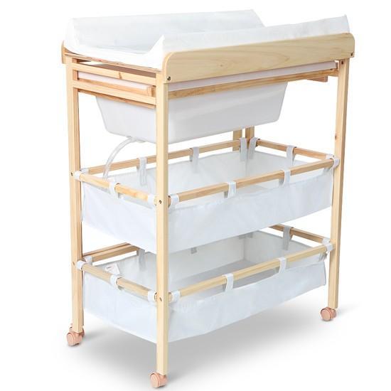 Meuble langer avec baignoire et casier rangement - Table a langer en bois avec baignoire ...