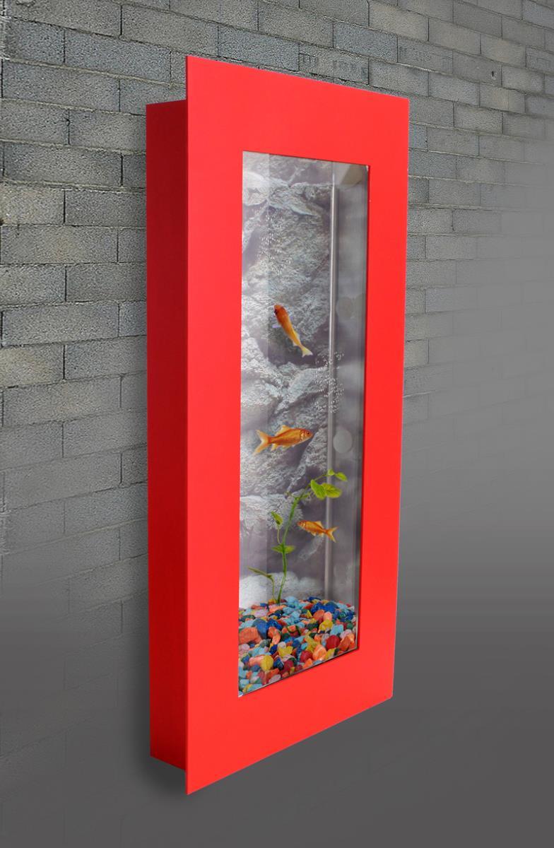 Aquarium mural aluminium verre 800 x 400 mm rouge for Aquarium decoratif mural