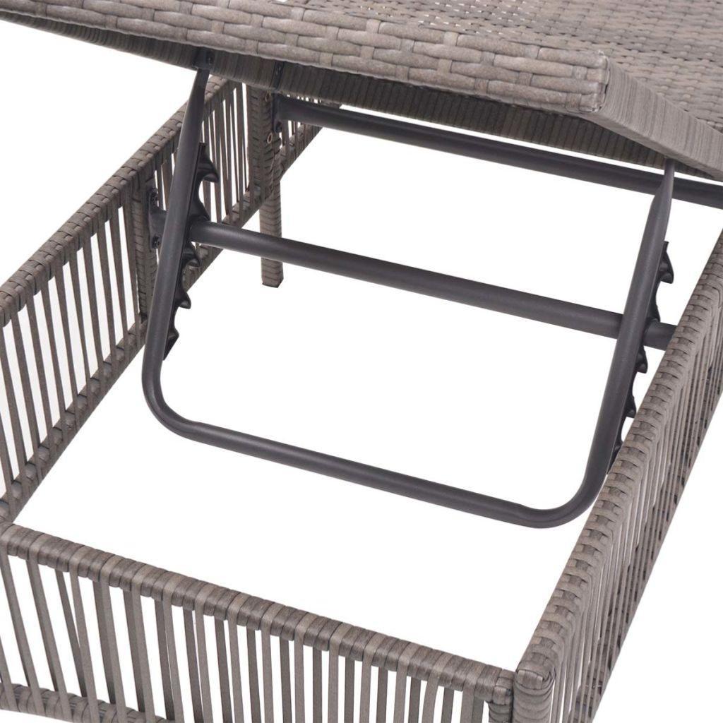 chaise longue en r sine tress e gris. Black Bedroom Furniture Sets. Home Design Ideas