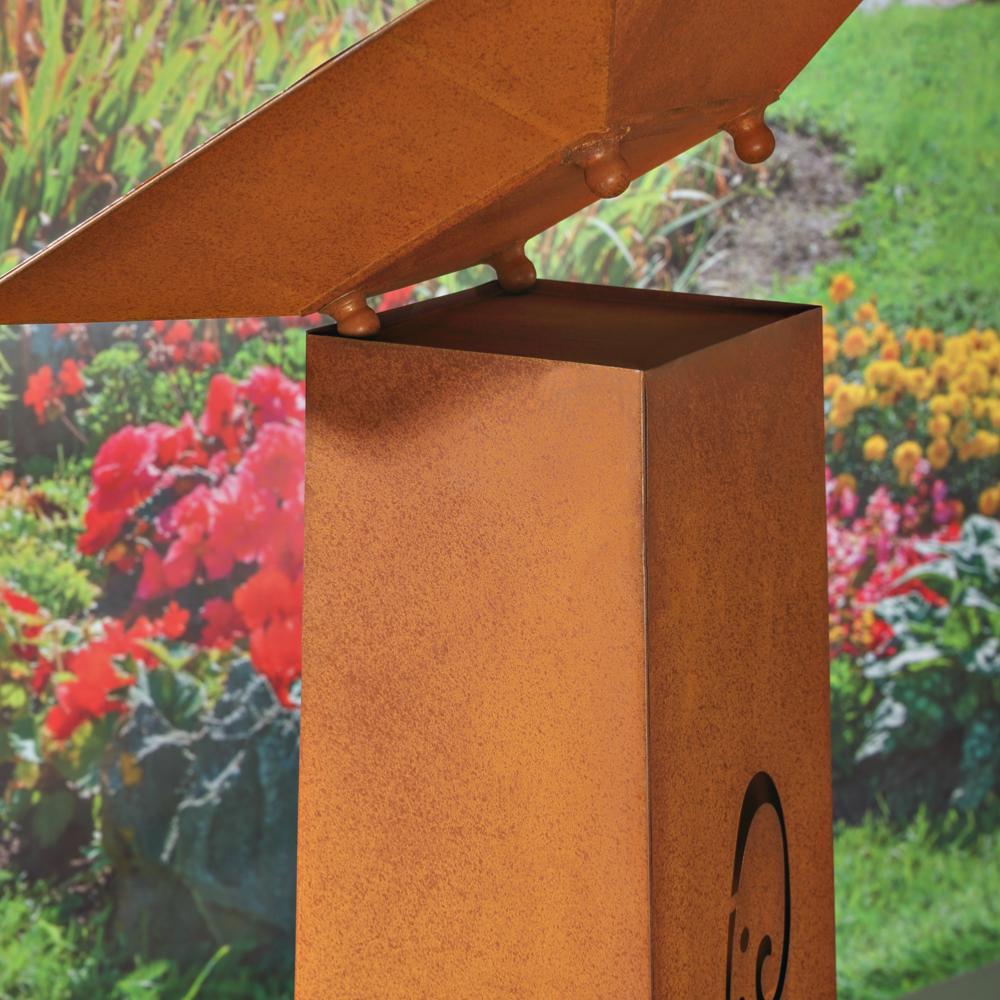 Colonne d coration jardin en m tal galvanis couleur rouille - Peindre du metal rouille ...