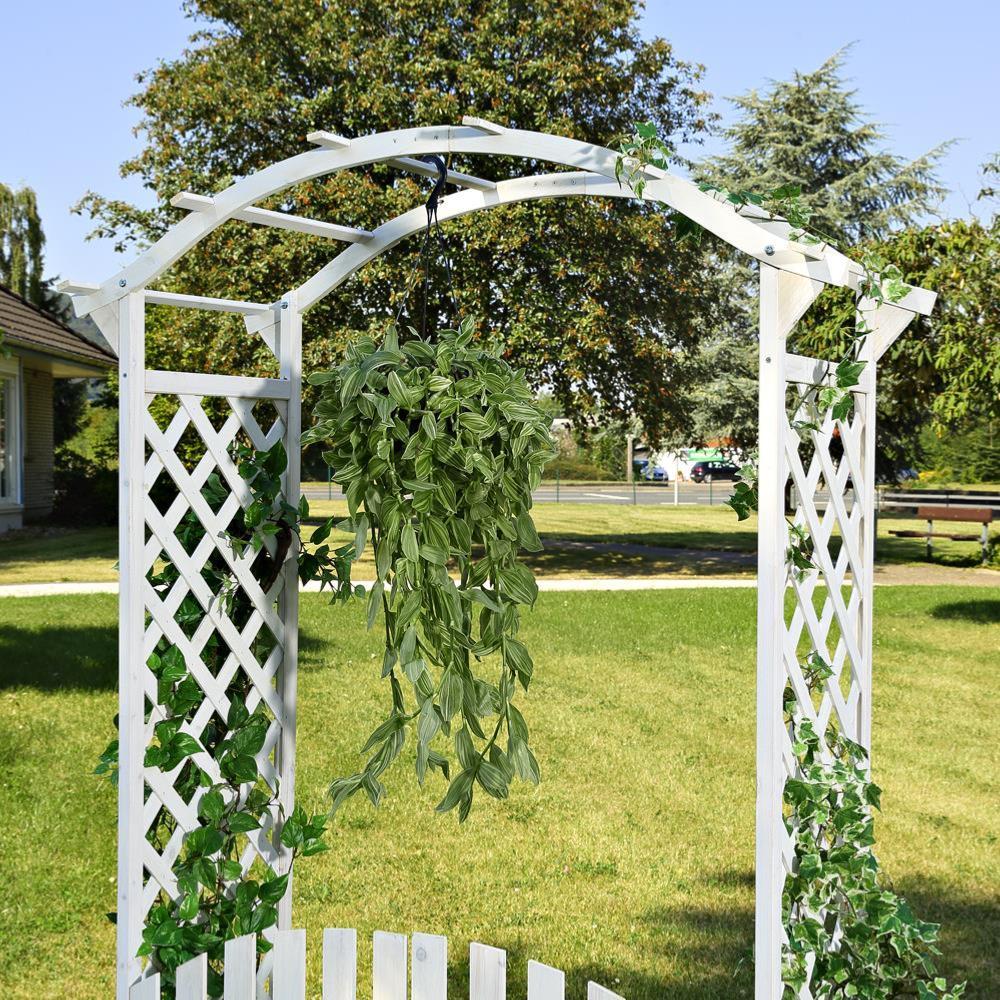Pergola en bois avec portillons blanc for Arche de jardin en bois