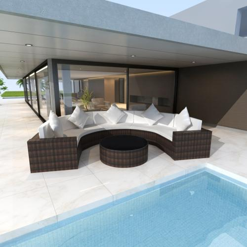 canape de jardin r sine tress e marron blanc demi cercle. Black Bedroom Furniture Sets. Home Design Ideas