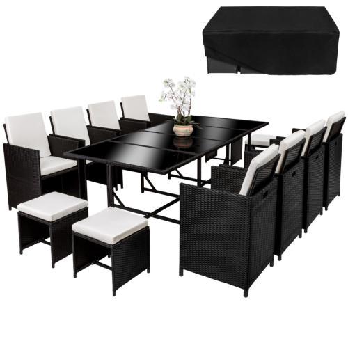 Salon de jardin canapé résine tressée noir, 12 places