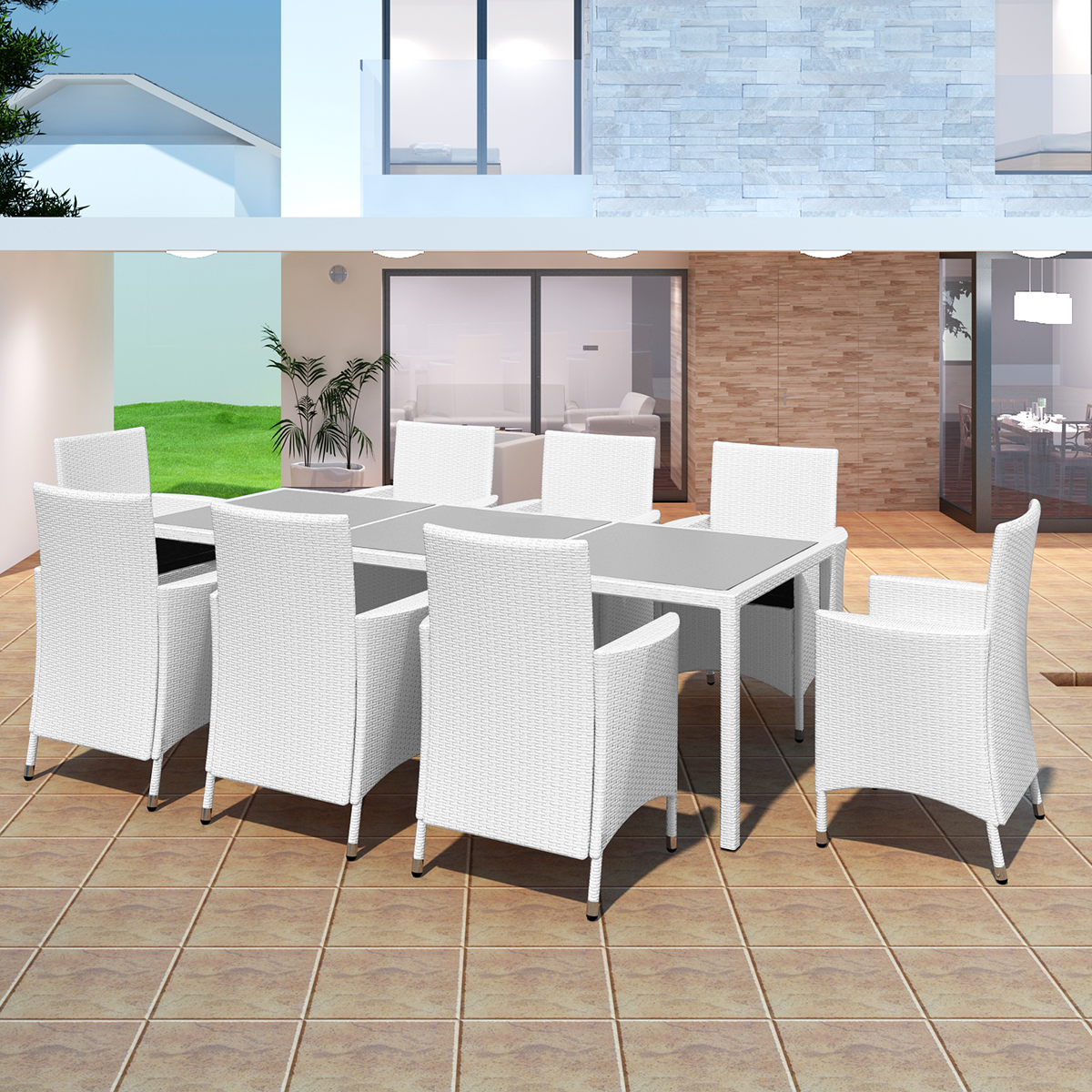 salon de jardin 8 places en poly rotin 4 coloris. Black Bedroom Furniture Sets. Home Design Ideas