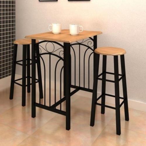 Table de bar haute avec tabourets en bois et m tal noir Table haute avec tabouret pour cuisine