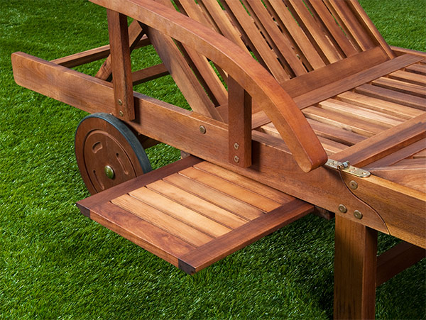Bain de soleil haut de gamme pliable en acacia marron for Transat bain de soleil bois