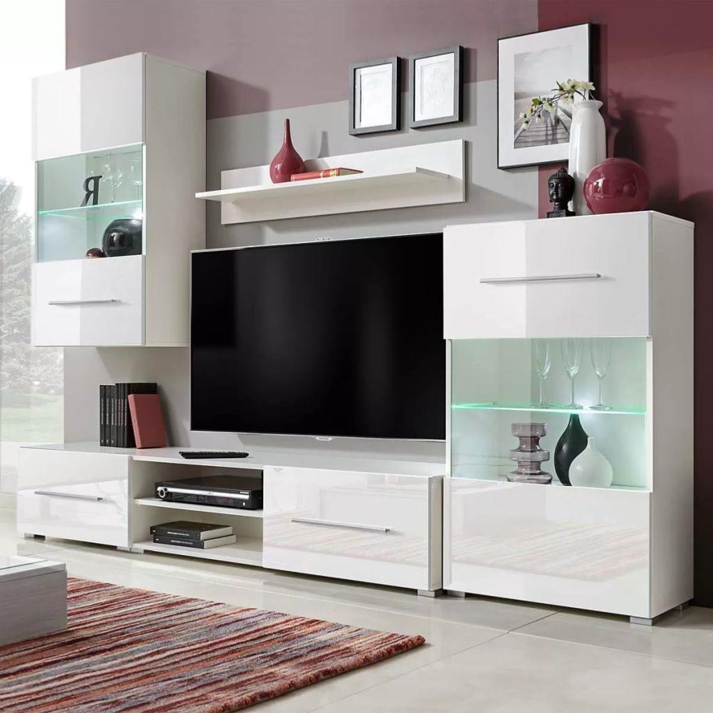 Meuble Tv 240 Cm 5 Elements Avec Eclairage Laque Blanc
