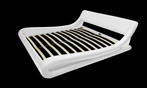 lit design en cuir blanc avec matelas 140 x 200 cm. Black Bedroom Furniture Sets. Home Design Ideas