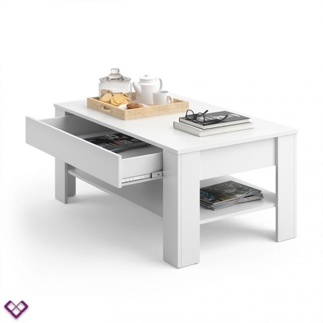 Table Basse Blanche Avec Tiroir.Table Basse Design Blanche Modele Kiel