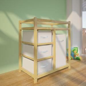 commode table langer b b en bois avec panier. Black Bedroom Furniture Sets. Home Design Ideas