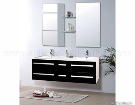 Meuble salle de bain noir double vasques et robinetterie - Ensemble robinetterie salle de bain ...