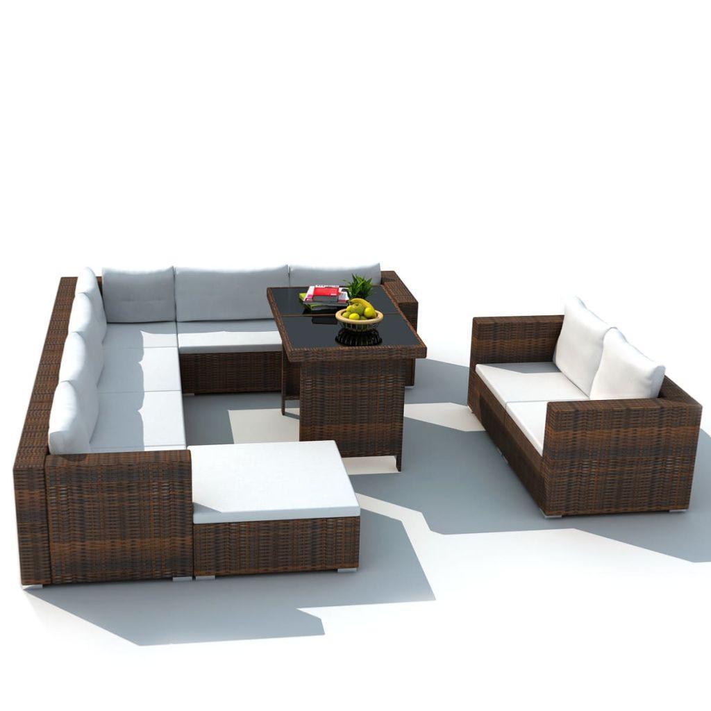 Salon de jardin canapé résine tressée, complet, 2 coloris