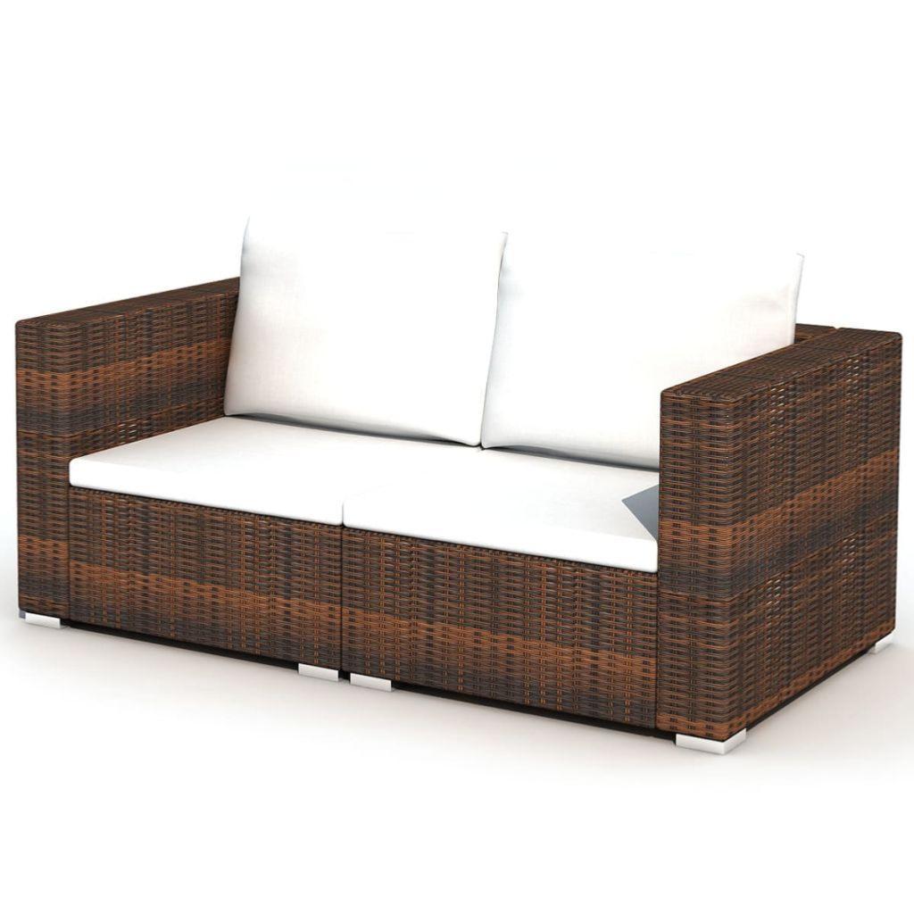 Salon de jardin canapé résine tressée, complet, 2 coloris, modèle HAVANE