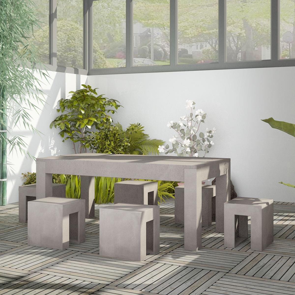 salon de jardin en b ton complet table avec 6 tabourets. Black Bedroom Furniture Sets. Home Design Ideas