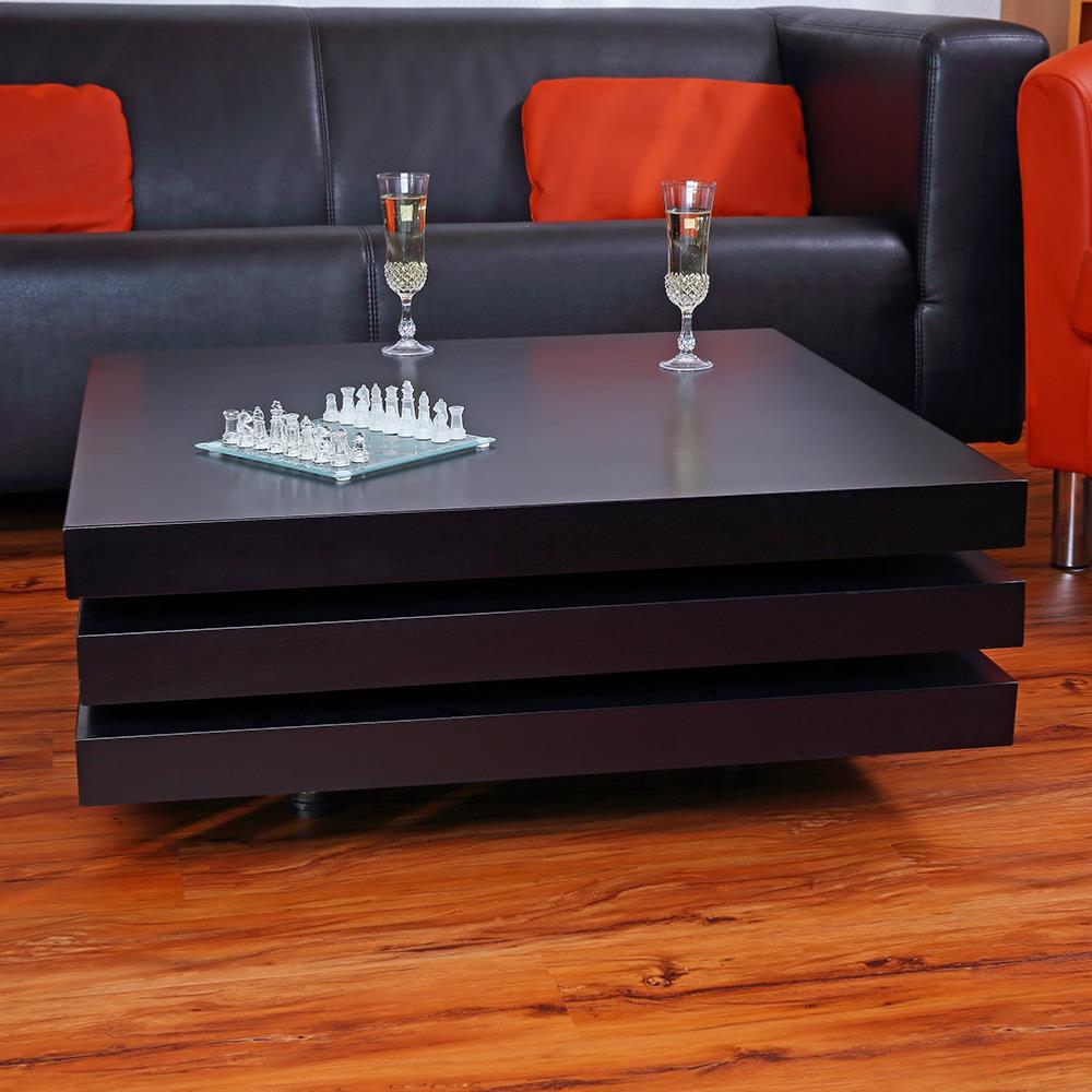 Table basse pivotante carr e mod le fusion noir Table basse modulable table haute