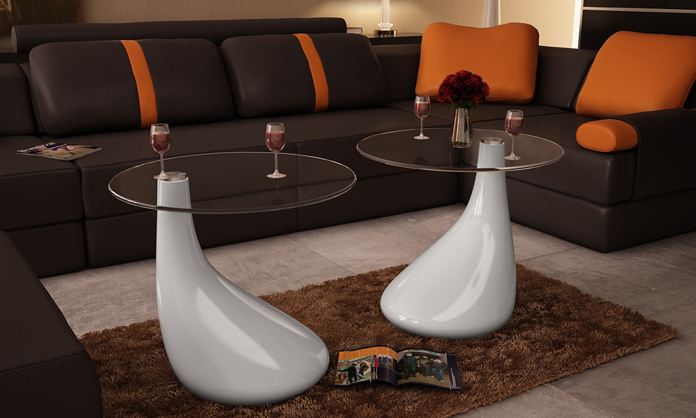 tables basses de salon verre tremp fibre de verre blanc brillant. Black Bedroom Furniture Sets. Home Design Ideas