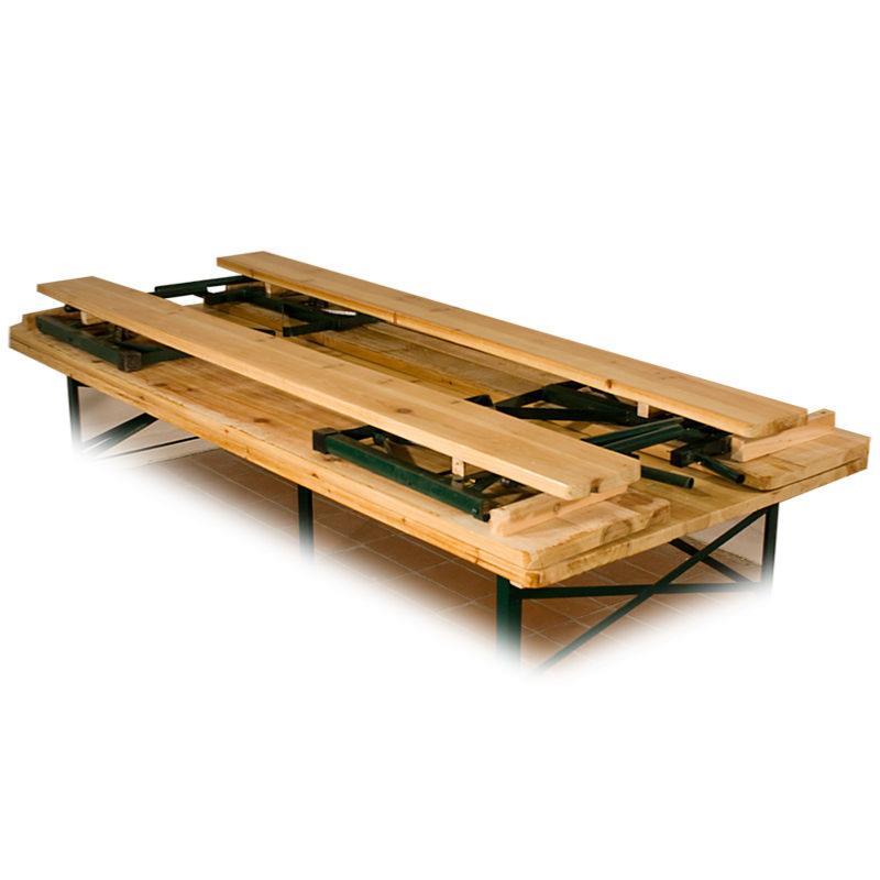 table avec banc en bois pliantes style brasserie 180 cm. Black Bedroom Furniture Sets. Home Design Ideas
