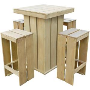 Bar de jardin et 4 chaises hautes, bois massif