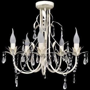 LUSTRE suspendu cristal 5 branches, blanc antique