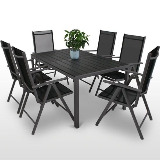 salon de jardin aluminium composite pour 6 personnes. Black Bedroom Furniture Sets. Home Design Ideas