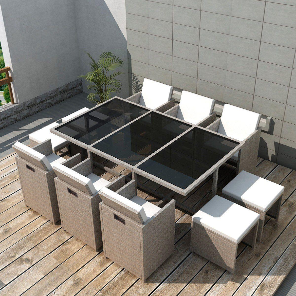 salon de jardin r sine tress e gris beige 10 personnes. Black Bedroom Furniture Sets. Home Design Ideas
