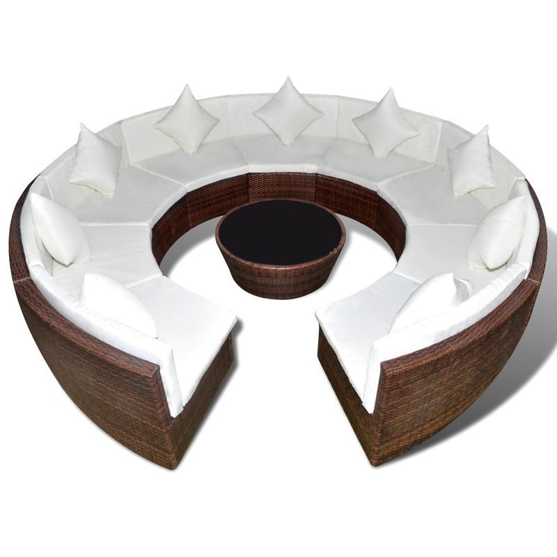 Salon de jardin rond en r sine tress e marron for Evier rond en resine