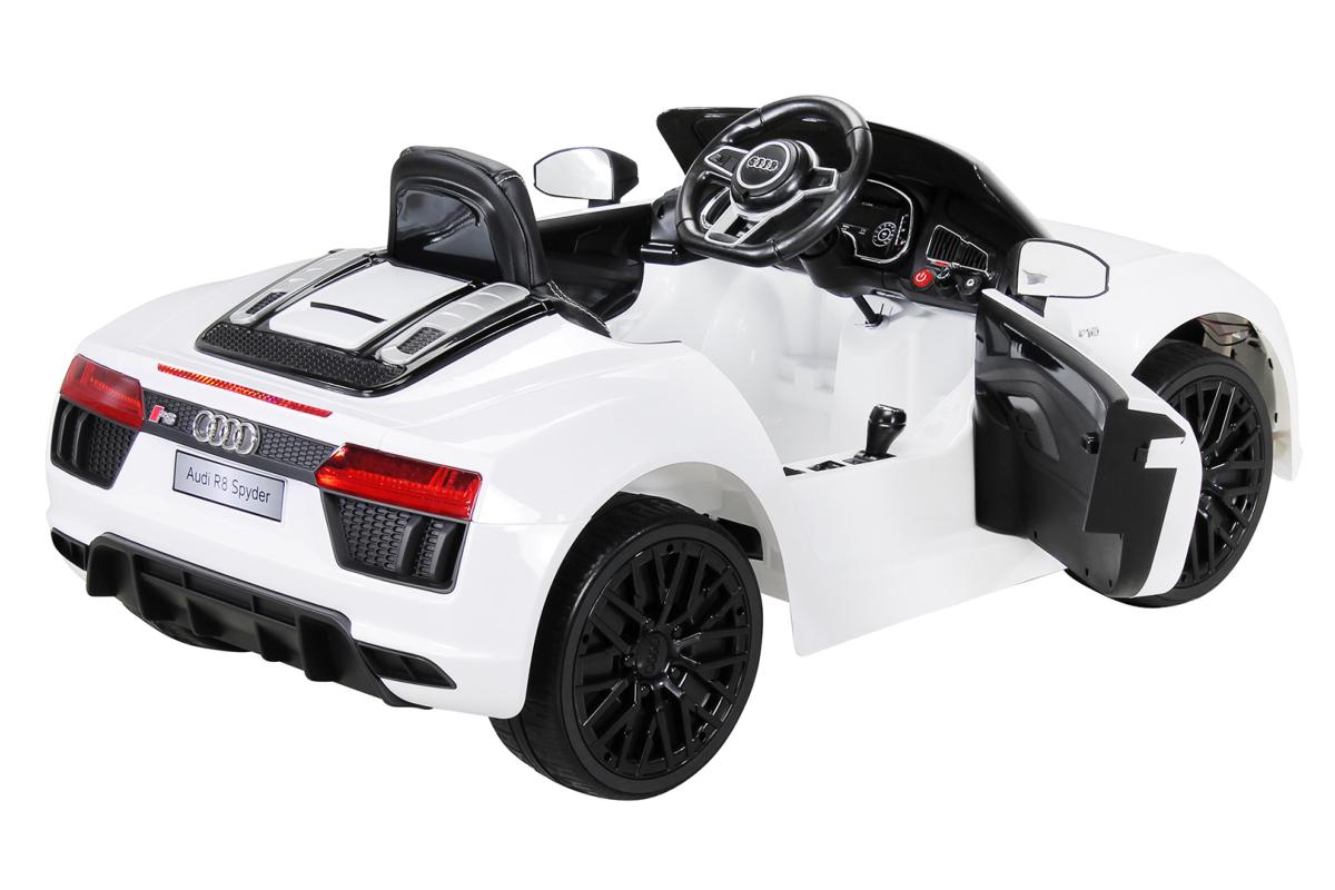 voiture lectrique enfant audi r8 spyder blanche. Black Bedroom Furniture Sets. Home Design Ideas
