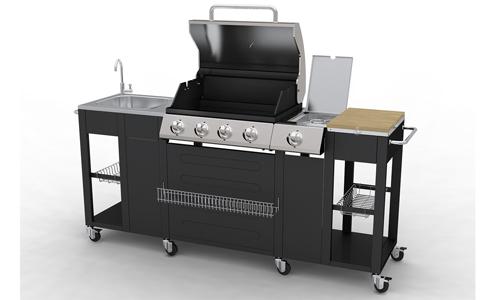 barbecue complet inox incorpor dans un meuble de cuisine. Black Bedroom Furniture Sets. Home Design Ideas