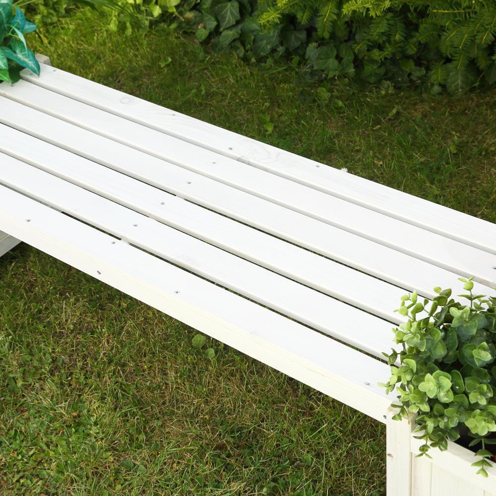 banc de jardin avec bacs fleurs en bois massif blanc. Black Bedroom Furniture Sets. Home Design Ideas
